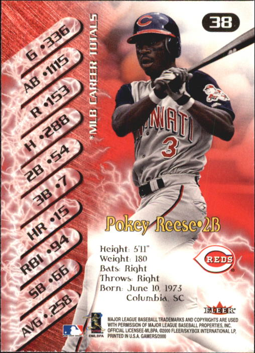2000 Fleer Gamers #38 Pokey Reese back image