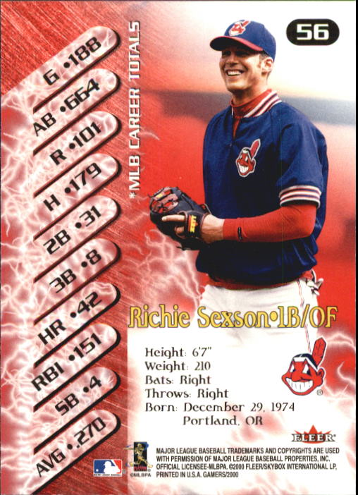 2000 Fleer Gamers #56 Richie Sexson back image