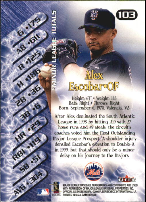 2000 Fleer Gamers #103 Alex Escobar NG back image