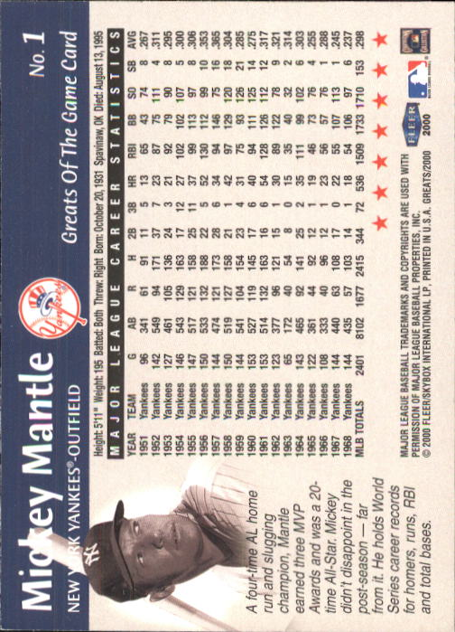 2000 Greats of the Game #1 Mickey Mantle back image
