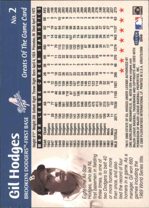 2000 Greats of the Game #2 Gil Hodges back image