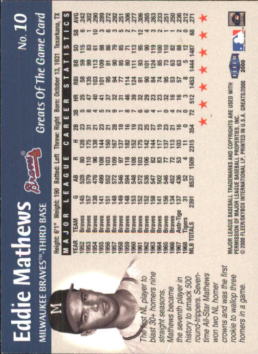 2000 Greats of the Game #10 Eddie Mathews back image