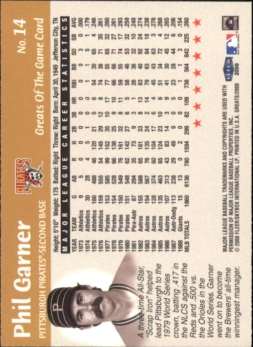 2000 Greats of the Game #14 Phil Garner back image