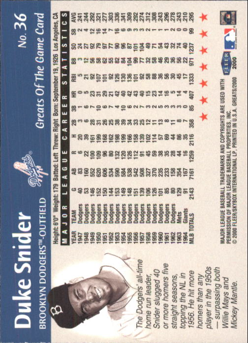 2000 Greats of the Game #36 Duke Snider back image