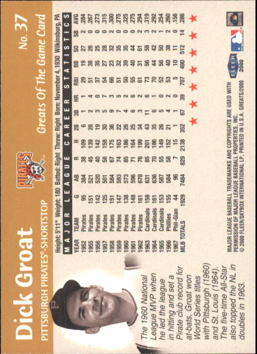 2000 Greats of the Game #37 Dick Groat back image
