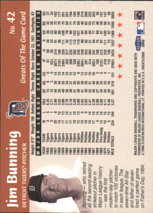 2000 Greats of the Game #42 Jim Bunning back image