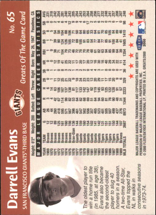 2000 Greats of the Game #65 Darrell Evans back image