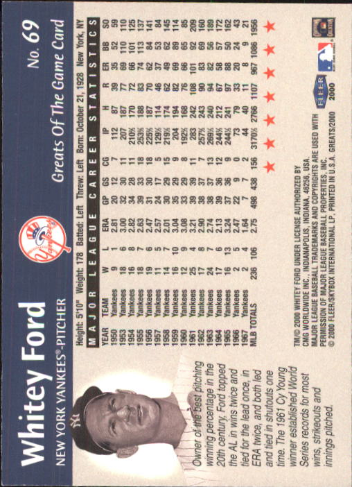 2000 Greats of the Game #69 Whitey Ford back image