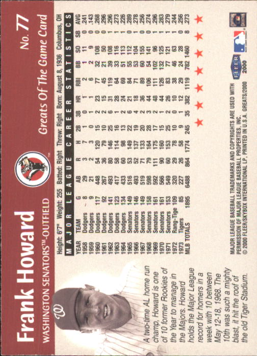 2000 Greats of the Game #77 Frank Howard back image