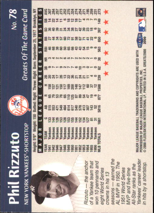 2000 Greats of the Game #78 Phil Rizzuto back image