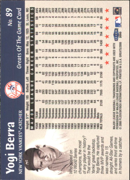 2000 Greats of the Game #89 Yogi Berra back image