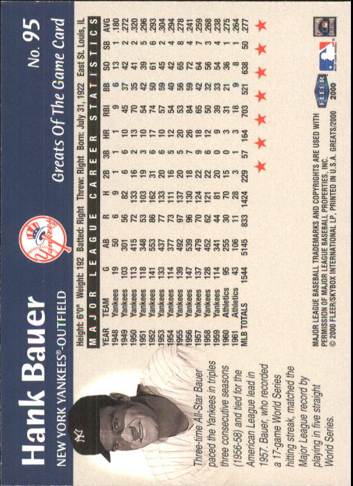 2000 Greats of the Game #95 Hank Bauer back image
