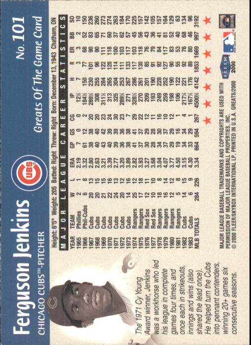 2000 Greats of the Game #101 Ferguson Jenkins back image