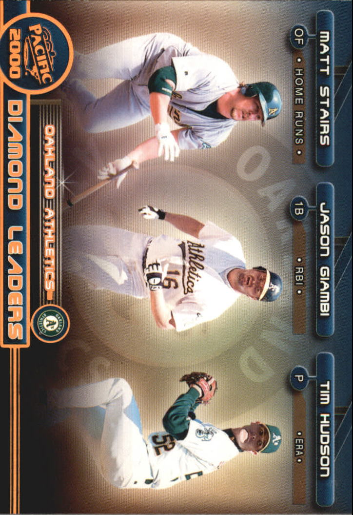 2000 Pacific Diamond Leaders #10 Giambi/Hudson/Stairs