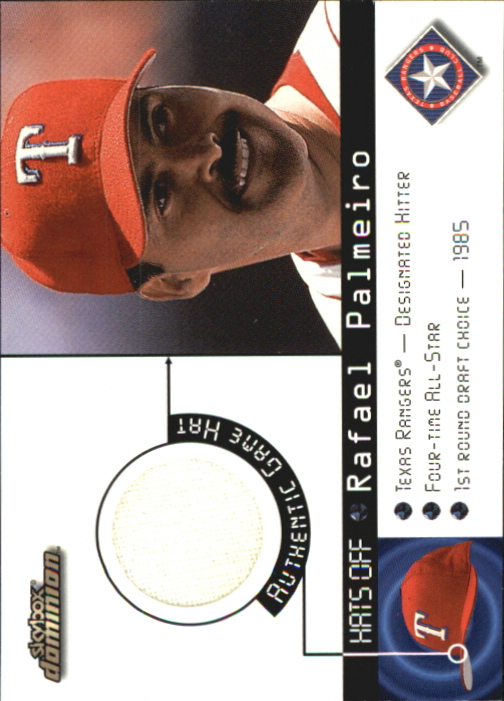 2000 SkyBox Dominion Hats Off #11 Rafael Palmeiro