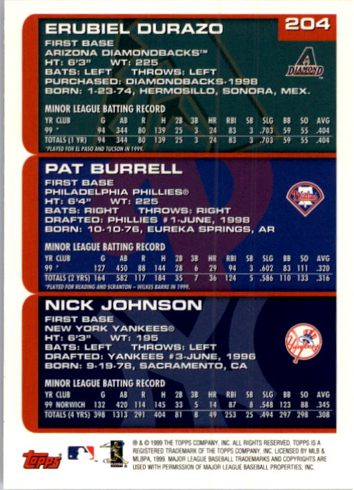 2000 Topps #204 Durazo/Burrell/Johnson back image