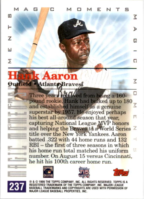 2000 Topps #237A H.Aaron MM 1st Career HR back image
