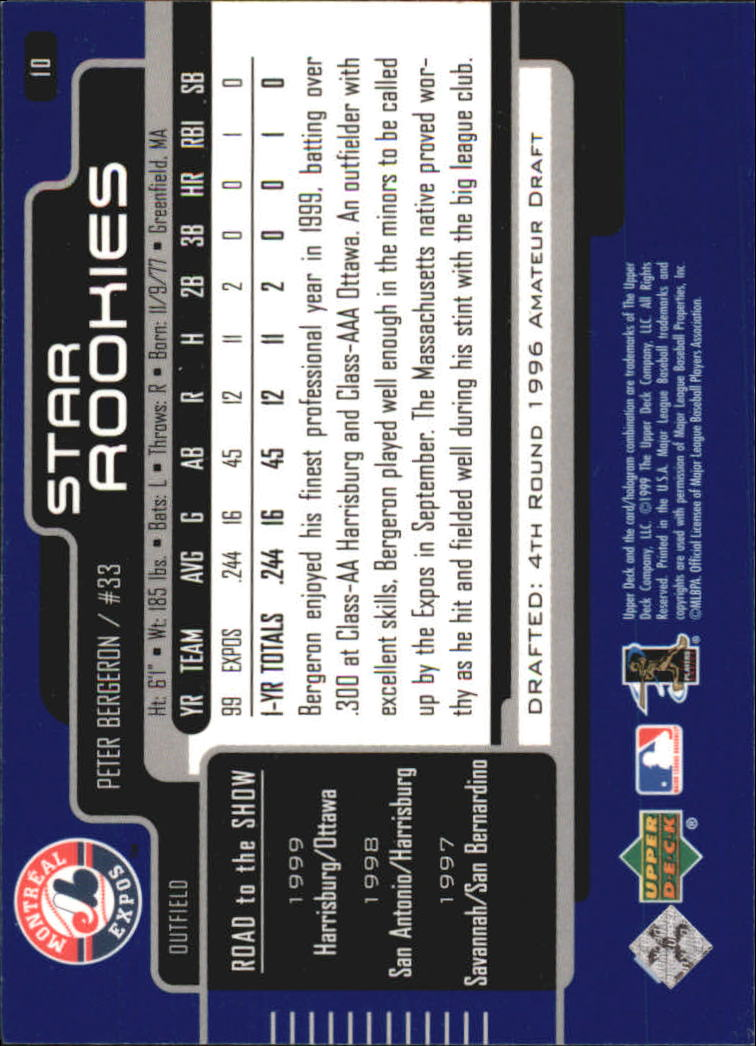 2000 Upper Deck #10 Peter Bergeron SR back image