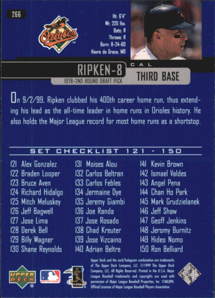 2000 Upper Deck #266 Cal Ripken SH CL back image
