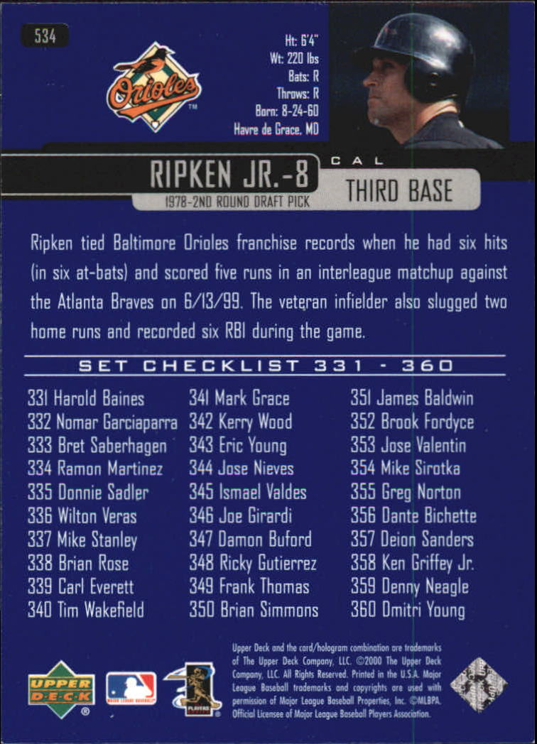 2000 Upper Deck #534 Cal Ripken CL back image