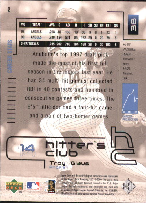 2000 Upper Deck Hitter's Club #2 Troy Glaus back image