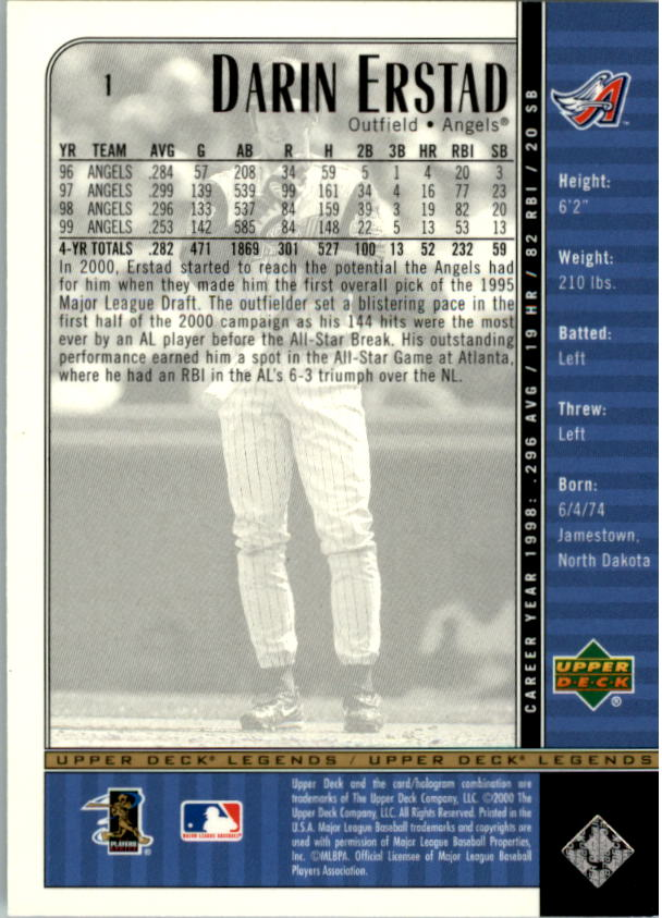 2000 Upper Deck Legends #1 Darin Erstad back image