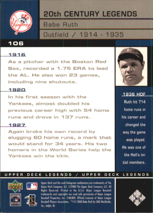 2000 Upper Deck Legends #106 Babe Ruth 20C back image