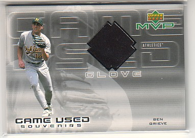 2000 Upper Deck MVP Game Used Souvenirs #BGG Ben Grieve Glove