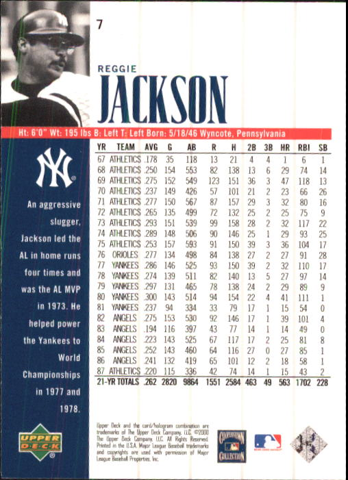 2000 Upper Deck Yankees Legends #7 Reggie Jackson back image