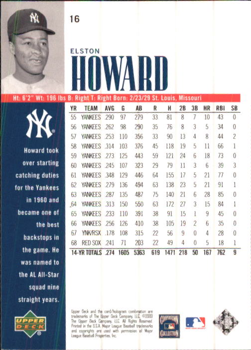 2000 Upper Deck Yankees Legends #16 Elston Howard back image