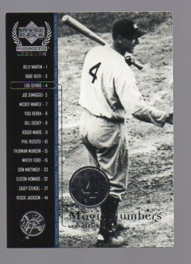 2000 Upper Deck Yankees Legends #53 Lou Gehrig MN