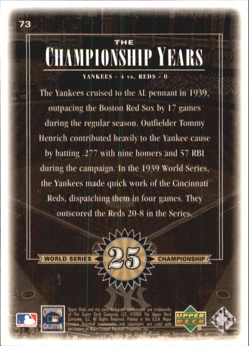 2000 Upper Deck Yankees Legends #73 Tommy Henrich '39 TCY back image