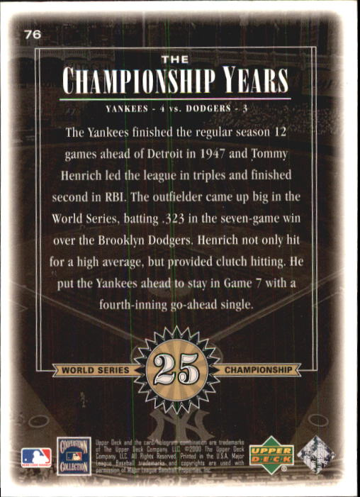 2000 Upper Deck Yankees Legends #76 Tommy Henrich '47 TCY back image