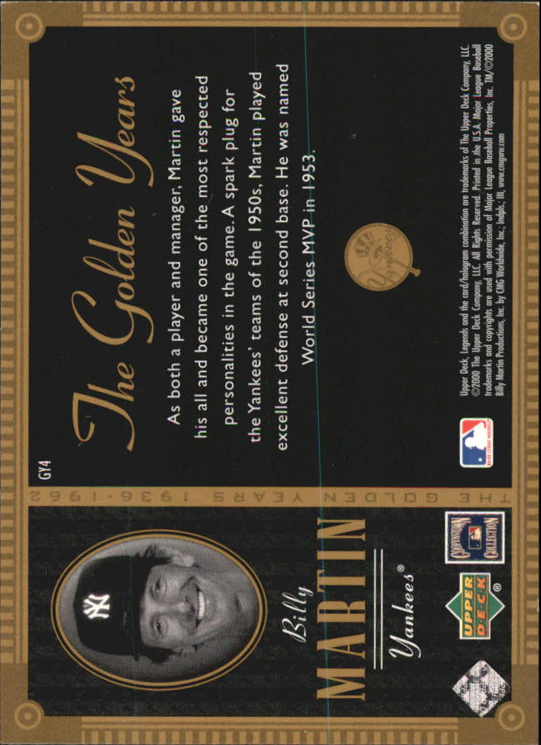 2000 Upper Deck Yankees Legends Golden Years #GY4 Billy Martin back image