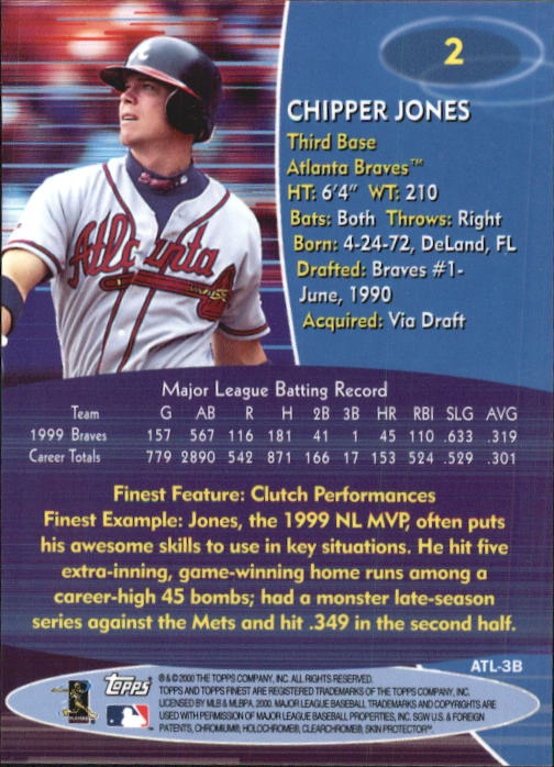 2000 Finest #2 Chipper Jones back image