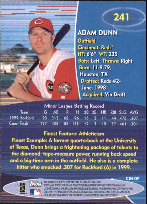 2000 Finest #241 Adam Dunn back image