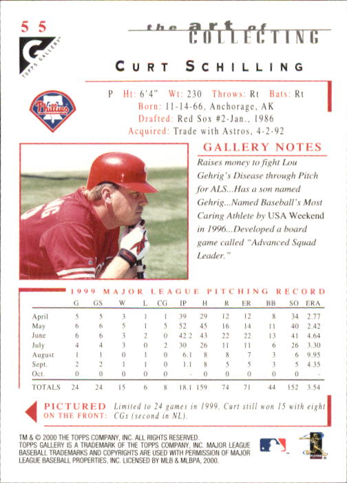 2000 Topps Gallery #55 Curt Schilling back image