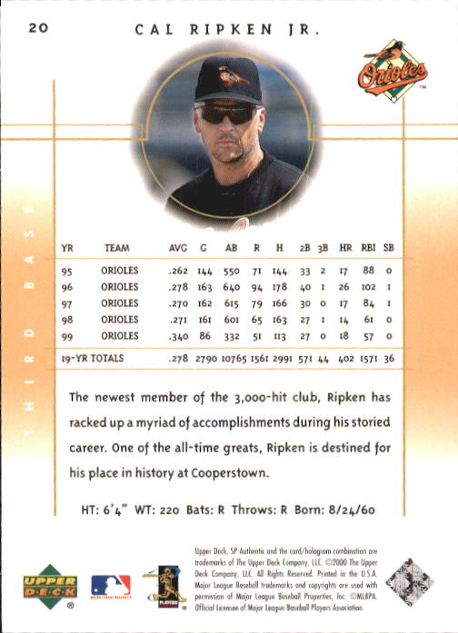 2000 SP Authentic #20 Cal Ripken back image