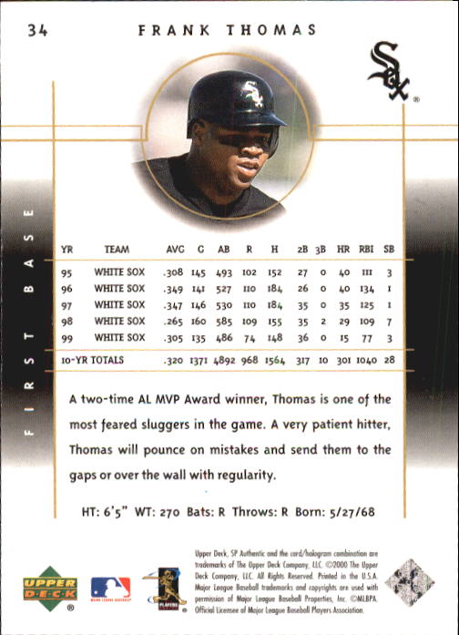 2000 SP Authentic #34 Frank Thomas back image