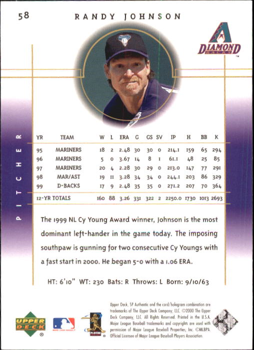 2000 SP Authentic #58 Randy Johnson back image