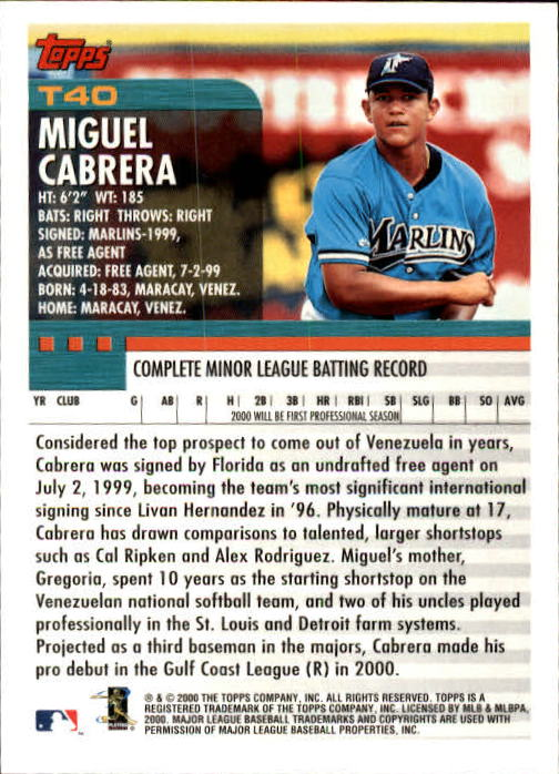 2000 Topps Traded #T40 Miguel Cabrera RC