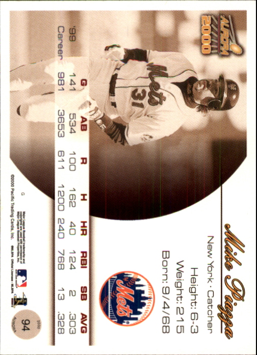 2000 Aurora Pinstripes #94 Mike Piazza back image