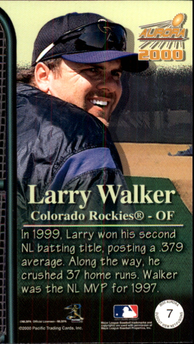 2000 Aurora Dugout View Net Fusions #7 Larry Walker back image