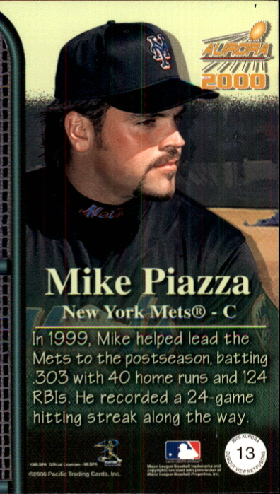 2000 Aurora Dugout View Net Fusions #13 Mike Piazza back image