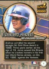 2000 Aurora Pennant Fever #1 Andruw Jones back image
