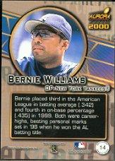 2000 Aurora Pennant Fever #14 Bernie Williams back image