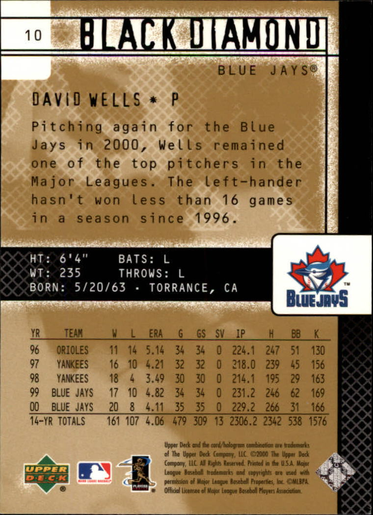 2000 Black Diamond Rookie Edition #10 David Wells