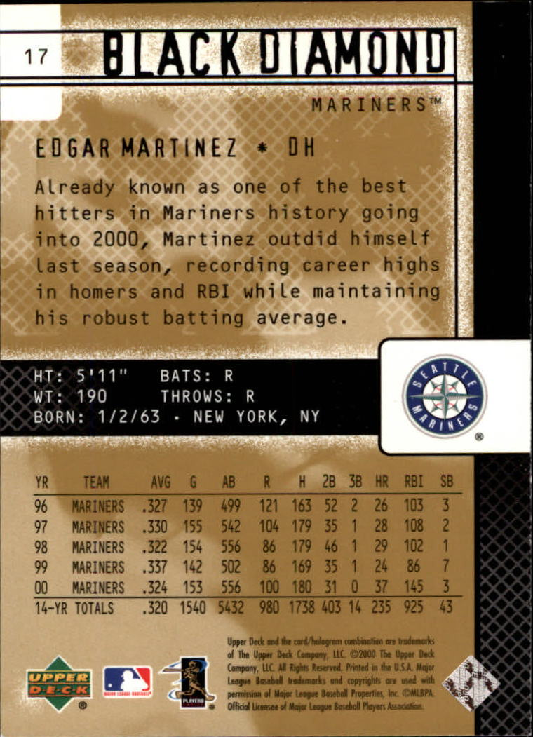 2000 Black Diamond Rookie Edition #17 Edgar Martinez back image