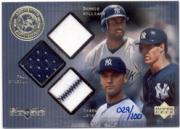 2000 Black Diamond Rookie Edition Authentic Pinstripes #JWOJ Derek Jeter Jsy/Bernie Williams Jsy/Paul O'Neill Jsy/100