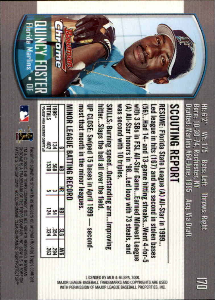 2000 Bowman Chrome #170 Quincy Foster RC